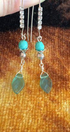 Pretty Aqua green czech glass leaf dangle by RealBeadDesigns