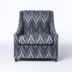 Sweep Arm Chair, Cotton/Rayon Ikat Print, Feather Gray / Flax