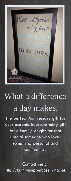 #Anniversary gift, #Housewarming gift...or for any special occassion...what days have made a difference in your family?  Custom design from #Uppercase Living at kathryn.uppercaseliving.net