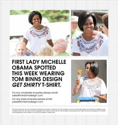 Mrs Obama wears our Get Shirty t shirt