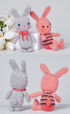Free Crochet Pattern - Beatrice and Basil Bunnies Amigurumi 2020 - eeasyknitting. Easter Crochet Patterns, Crochet Amigurumi Free Patterns, Crochet Toys, Amigurumi Doll Pattern, Amigurumi For Beginners, Rabbit Toys, Craft Accessories, Stuffed Animal Patterns, Cute Crochet