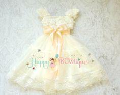 Flower girl dress, Blush Ivory Chiffon Lace Dress, Girls dress, baby flower girl, Birthday, Rustic dress,Ivory dress, Flower girl lace dress
