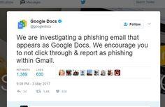 Massive Scale Phishing Scam Targeting Google Docs Users