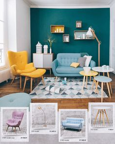 Color scheme in the living room: select wall colors and mix skillfully - Best Home Decorating Ideas - Easy Interior Design and Decor Tips Home Room Design, Living Room Designs, Home Decor Furniture, Living Room Furniture, Sectional Furniture, Furniture Showroom, Sofa, Casa Retro, Retro Living Rooms