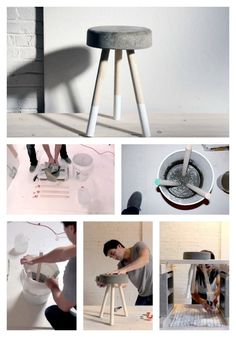 This tutorial (including some videos) shows you how to make a concrete stool top with wooden legs. For the more ambitious crafter.