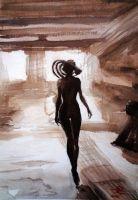 Sepia Woman by zoleeart
