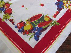Wilendur vintage cotton tablecloth fruits red border