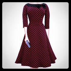 "❤️HP STYLE ICON❤️Retro Boat Neck Polka Dot dress ❤️HP STYLE ICON 11/25❤️This is a cute vintage retro style 1950's slash neck polka dot dress with a black bow. Size medium measurements taken while flat & then stretched. Bust 17.25-18.5"" Waist 14-16"" Length 41"" mid calf length. The waist measurement is taken 3.5"" above the navel, it's almost an empire waist placement. Dresses Midi"