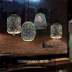 Ceiling Pendant Hanging Lamp Modern Interior Industrial 3D Glass Lighting 13