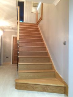 This open string Oak staircase looks elegant with the glass balustrade Glass Balustrade, Stairway, Staircases, Joinery, Elegant, Design, Home Decor, Carving, Classy