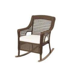 Hampton Bay Spring Haven Grey All Weather Wicker Patio Rocking Chair With  Bare Cushion