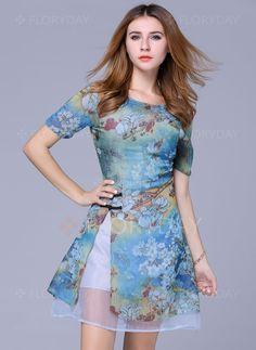 Dresses - $73.50 - Polyester Floral Short Sleeve Above Knee Vintage Dresses (1955100084)