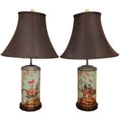 Antique Dealer: Olivier Fleury, Inc.  Photo Description: Pair of Chinoiserie Tea Canister Lamps