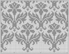 Adapt motif to size for quaker ball Kauni damask pattern - filet crochet, but I'll stitch it for a cushion. Cross Stitch Borders, Cross Stitch Charts, Cross Stitching, Cross Stitch Embroidery, Embroidery Patterns, Cross Stitch Patterns, Fair Isle Knitting Patterns, Fair Isle Pattern, Knitting Charts