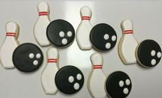 Bowling Ball Bowling Pin Decorated Sugar Cookies by I Am the Cookie Lady