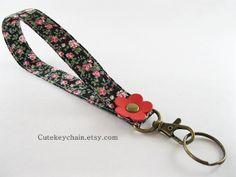 Long Fabric Keychain Fabric Wristlet Key Fob by CuteKeyChain, $4.90