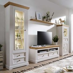 Country house wall unit Charming in white and oak from solid pine wood Country house wall unit Charming in white and oak from solid pine parts) Living Room Decor On A Budget, Living Room Tv, Home And Living, Living Room Entertainment Center, Muebles Living, Tv Unit Design, House Wall, Home Office Design, Family Room