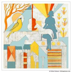 Geometric Female Silhouette / Country Morning by dolangeiman, $39.00