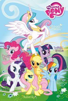 Posters: My Little Pony Poster - Fluttershy, Rainbow Dash, Rarity, Pinkie Pie, Applejack, Twilight Sparkle, Princess Celestia (36 x 24 inches)