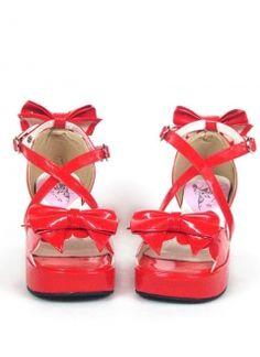 3'' Heel 2 4/5'' Platform Red Crisscross Bow Buckle PU Lolita Sandals