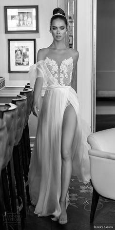 elihav sasson spring 2018 bridal sleeveless illusion jewel sweetheart beaded bodice a line wedding dress (vj 003) mv sheer back slit skirt romantic sexy boho -- Elihav Sasson 2018 Wedding Dresses