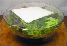 how to keep salad fresh = sprinkle some salt on the salad and place a dry paper towel over the lettuce in a tight seal tupperware. Replace the paper towel as it absorbs the moisture which would cause your salad to wilt.