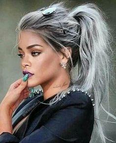 La tendance des cheveux gris par Rhianna #haircolor