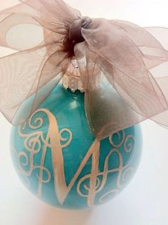 hand painted monogram ornament