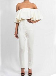 Fvogue Charming Off Shoulder Flouncing Pure Color Long Taper Mid Waist Jumpsuit
