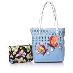 Sharif Perforated Collage Tote and Wristlet Set -