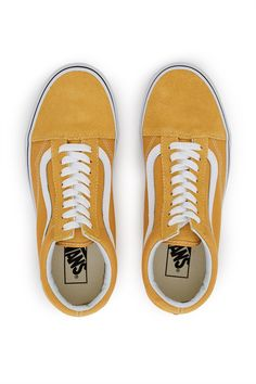 Vans, Old Skool Sneaker The Old Skool, the Vans classic skate shoe and first to bare the iconic sidestripe, is a low top lace-up style featuring sturdy canvas and suede uppers in the season's yellow hue., US MEN'S SIZING, Round toe, Lace-up front, Black foxing stripe, Canvas lining, Original waffle rubber soles, Imported