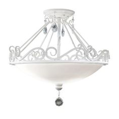 A clean, crisp, white-on-white aesthetic is presented in a classic profile in the Chateau Blanc lighting collection. The Semi-Gloss White finish coupled with the Prismatic glass crystals completes the contemporary interpretation of these highly decorative light fixtures. Murray Feiss - SF190SGW - Semi Flushmount - Semi Gloss White