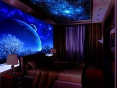 Glow In The Dark Bedroom Design Ideas Inspiration. 72694127 Bedroom Decor And Accessories. Wallpaper For Home Wall, Wallpaper Designs For Walls, 3d Wallpaper Design, Dark Wallpaper, Wallpaper Murals, Galaxy Theme, 3d Wall Murals, Comfy Bedroom, Outdoor Paint