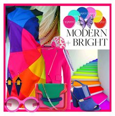 """""""Modern Brights"""" by anniecy ❤ liked on Polyvore featuring Happy Jackson, Bling Jewelry, Roland Mouret, Moschino, Alexander McQueen, Nine West, Oliver Goldsmith, Stephen Webster, Belk & Co. and Toolally"""