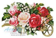 Victorian Rose Cart cross stitch pattern.