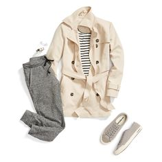 Jump into joggers. Pump up your loungewear with timeless staples like stripes, a trench & lace-up sneakers. #trendalert