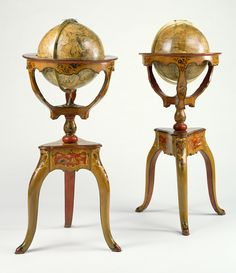 Pair of Globes; Globes designed and assembled by Jean-Antoine Nollet (French, 1700 - 1770), The terrestrial map engraved by Louis Borde (French, active 1730 - 1740), and celestial map engraved by Nicolas Bailleul le jeune (French, active 1740s), et al; Paris, France; 1728 - 1730; Printed paper, papier-mâché, poplar, spruce, and alder painted with vernis Martin, and bronze; 86.DH.705; J. Paul Getty Museum, Los Angeles, California