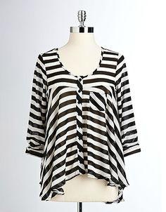 Striped Hi-Low Blouse - Material Girl