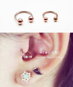 Rose Gold IP Over Surgical Steel Horseshoe Ring / Tragus Helix Cartilage Earrings / Septum Rings / Circular Barbell - HiUnni Cute Cartilage Earrings, Ear Piercing Studs, Ear Studs, Ear Piercings, Stud Earrings, Horseshoe Earrings, Horseshoe Ring, Initial Jewelry, Piercing Tattoo