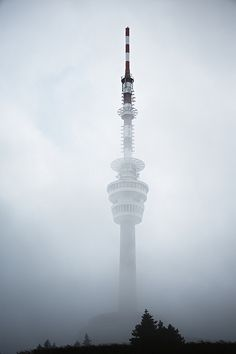 Tower in mystery fog, Praded, Jeseniky