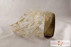 Karácsonyi organza szalag - arany indás - 38mm x 9,1m - Valex Decor Kft.   Virágkötészeti kellékek és dekorációk webáruháza