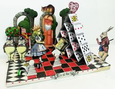 Artfully Musing: Alice in Wonderland Tarot Cards, Wonderland Scene, New Collage Sheets and Digital Image Set by Laura Carlson. I love this little vignette diamara! - and it looks like it was built on top of a wrapped canvas - hey! - I can do that!