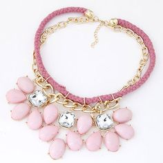 Electric Pink Gemstone Decorated Double Layer Design Alloy Fashion Necklaces  http://www.asujewelry.com/