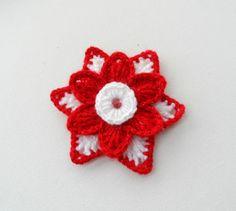 CROCHET BROOCH APPLIQUE GLITTER RED WHITE FLOWER STAR CHRISTMAS FLOWER  in Crafts, Crocheting & Knitting, Other Crocheting & Knitting   eBay