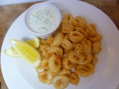 Crispy Calamari.  The key is to not overcook or the calamari becomes tough.  Also, cornflour is the same as cornmeal.