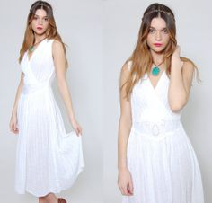 Vintage 80s White GRECIAN Sun Dress Sleeveless Cotton Midi Dress by LotusvintageNY