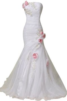 ORIENT BRIDE Elegant Women Mermaid Wedding Dresses with Handmade Flowers Size 26W US Ivory