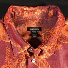 e5d54709ef0 Van Heusen Mens Hawaiian Shirt Floral Slubby Fabric Burgandy Orange Aloha  XL  VanHeusen  Hawaiian