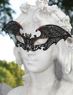 GOTHIC INTRIGUE MASK (BAT) Crystal-studded filigree conceals the eyes thereby preserving one's anonymity. Satin ties ensure a custom fit. Halloween 2, Holidays Halloween, Halloween Decorations, Halloween Costumes, David Bowie Labyrinth, Gothic 1, A Dogs Purpose, Bat Mask, Victorian Trading Company