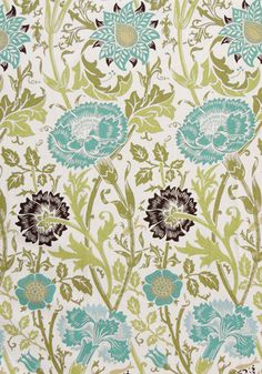 """""""Sweet William, Teal"""" 54"""" wide 100% cotton duck"""